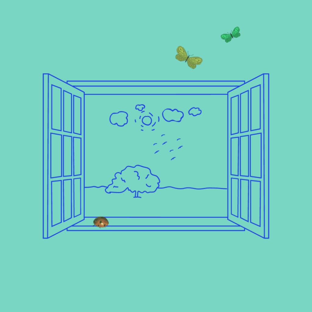 Ett illustrerat öppet fönster med utsikt